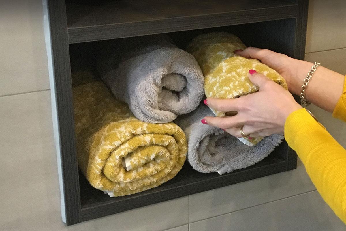 Tidy Towels in Bathroom Storage