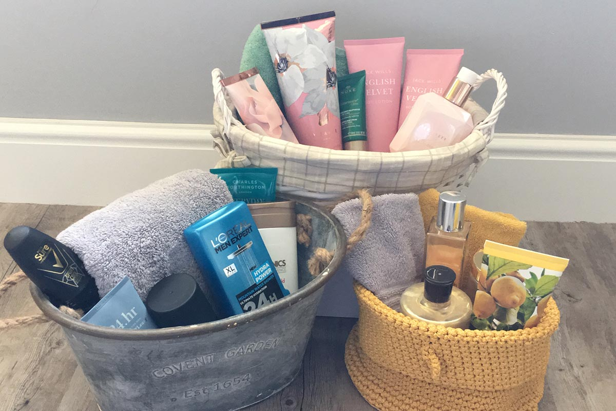 Clutter-free bathroom tips products in neat storage baskets